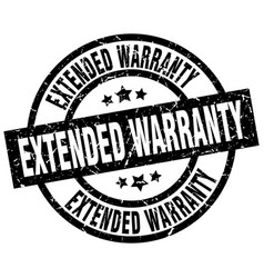 Extended warranty round grunge black stamp vector