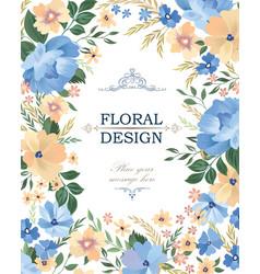 floral frame background flower bouquet cover vector image vector image