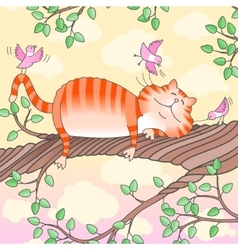 Funny cat sleeping on the tree vector