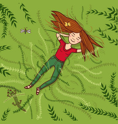 Girl lying on grass summer vector
