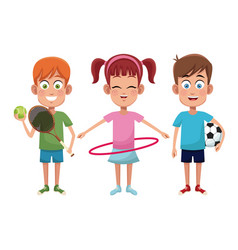 group kids sport active vector image
