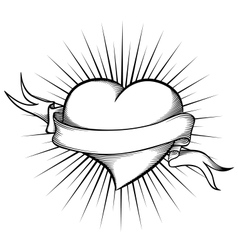 Heart with ribbon in tattoo style vector