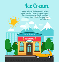Ice cream banner with shop building vector