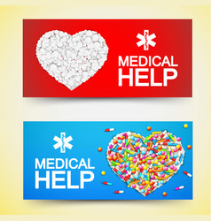 medical help colored horizontal banners vector image vector image