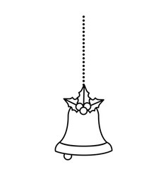 merry christmas bell decorative with bow hanging vector image
