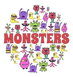 Monsters circle colorful template concept icons vector