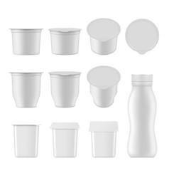 Natural yogurt realistic package mockup set vector