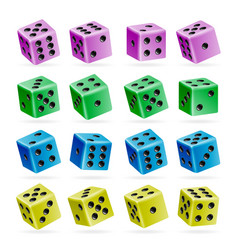 Playing dice set 3d realistic cubes with vector