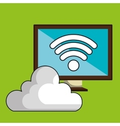 screen pc cloud wifi vector image