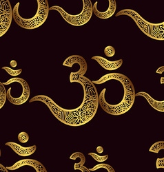 Seamless pattern Om or Aum Indian sacred sound vector image
