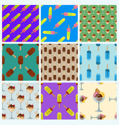 Set ice cream seamless pattern background cartoon vector