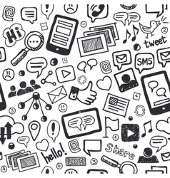 Social media doodles hand drawn seamless pattern vector