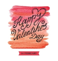 Valentines day lettering backgroundWatercolor vector image vector image