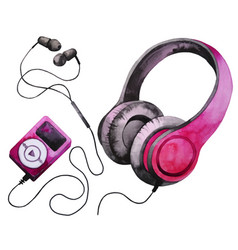 Watercolor headphones and mp3 player vector