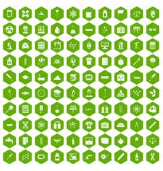 100 laboratory icons hexagon green vector