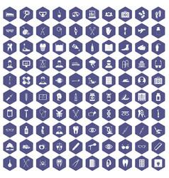 100 medical treatmet icons hexagon purple vector