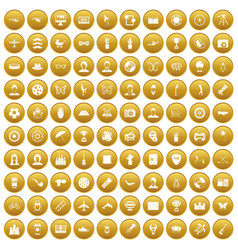 100 photo icons set gold vector