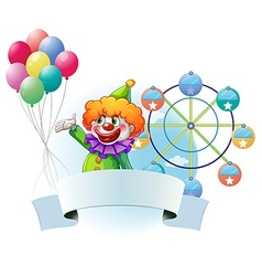 A clown with balloons an empty banner and a ferris vector image