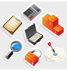 Sticker icon set for business and success vector image