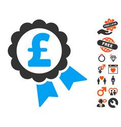 Featured pound price label icon with love bonus vector