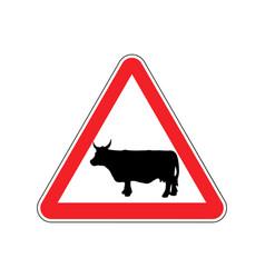Cow warning sign red farm hazard attention symbol vector