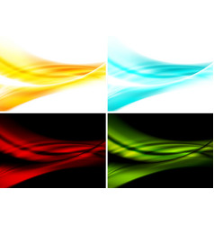 Set of bright abstract waves backgrounds vector