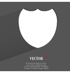 Shield protection flat modern web button with long vector