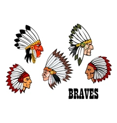 Indian brave chief portraits set vector