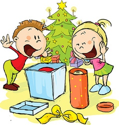 Children under the christmas tree unwrap gifts - vector