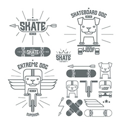 Skateboard dog emblems and icons vector