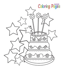 Coloring-book-birthday-cake vector