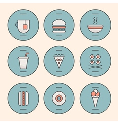 Fast food line icons vector