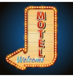 Neon vintage motel sign with light bulbs vector