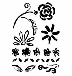 Collection of flower ink elements vector