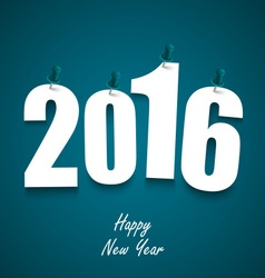 Blue new year wishes with pins template vector