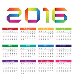 Calendar 2016 week starts from sunday vector