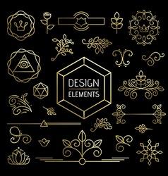 Icon set gold line art mono outline ornament vector