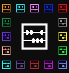 Abacus icon sign lots of colorful symbols for your vector