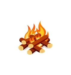 Campfire isolated on white background bright vector