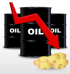 Oil barrels and stack of gold coin price fall vector