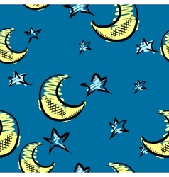Moon and stars background vector
