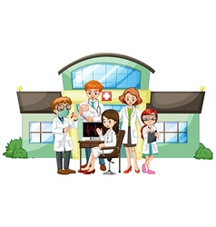 Doctors working in hospital vector image