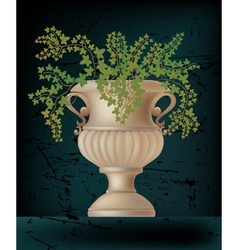Antique amphora on black vector
