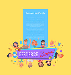 Awesome deals best offer for everyone promo poster vector