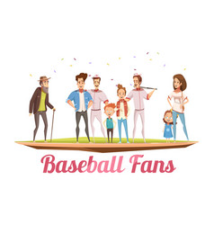 Baseball fans family design concept vector