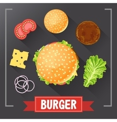 Burger ingredients burger parts on chalkboard vector