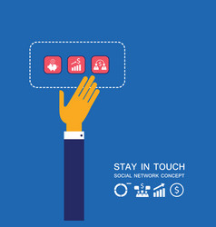 Businessman hand touching business icons vector