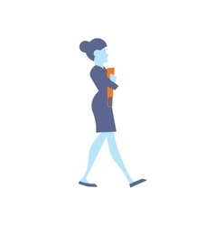 Businesswoman with orange folder walking vector image vector image