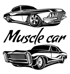 Cars muscle 70s set vector