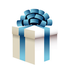 christmas gift box blue bow ribbon wrap image vector image vector image
